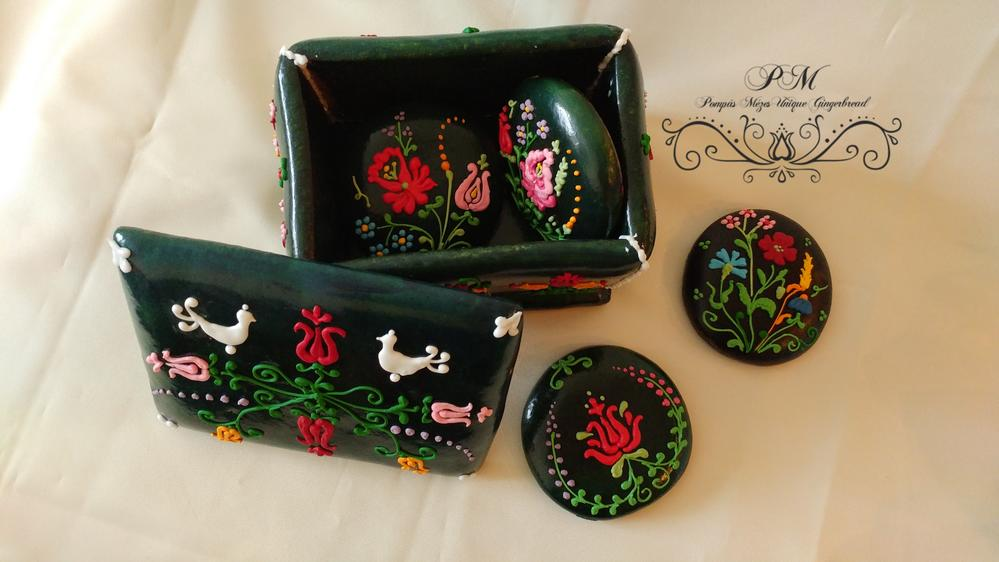 3-D Black Box with Folk Art Flowers