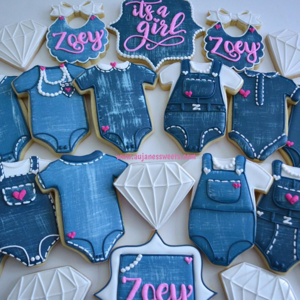 Denim, Diamonds and pearls sugar cookies