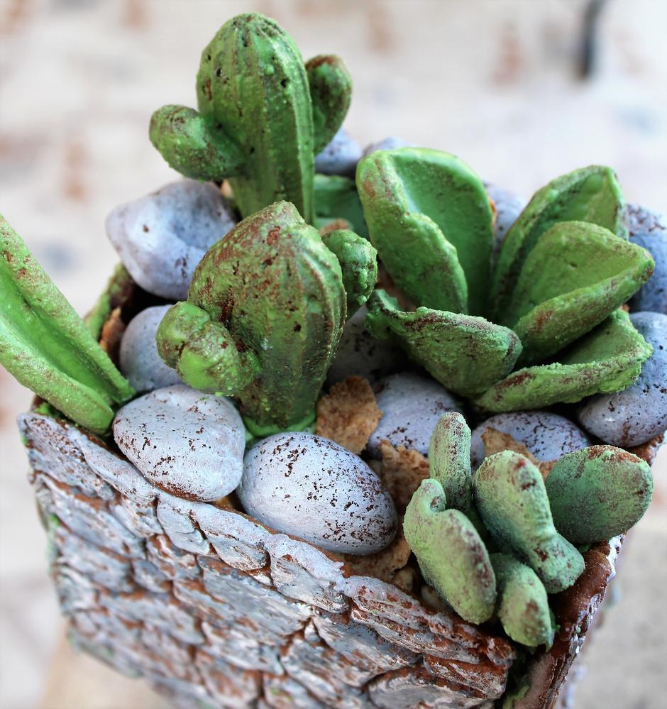 3-D Gingerbread Succulents in Flower Pot