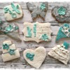 Wedding cookies in teal and grey