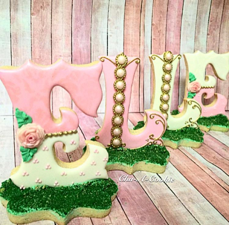 3D Baby Shower Name Cookies