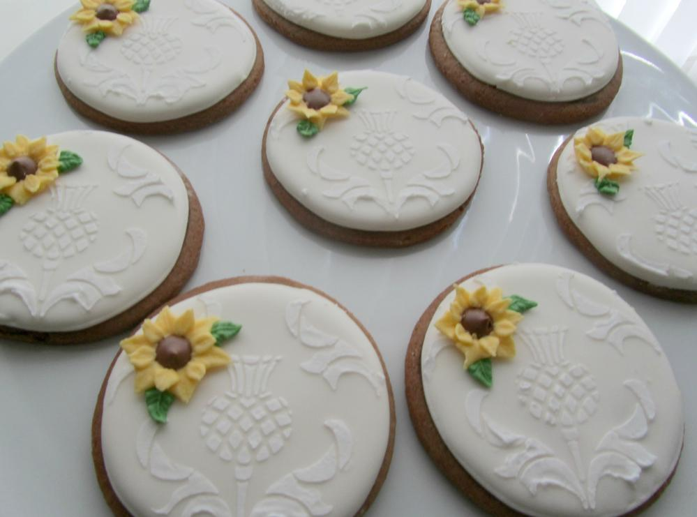 Sunflower and Thistle Wedding Cookies