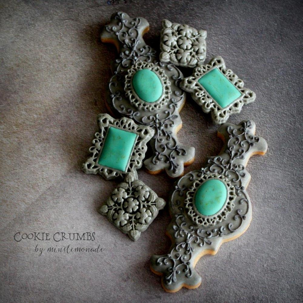 Silver and Turquoise Cookies