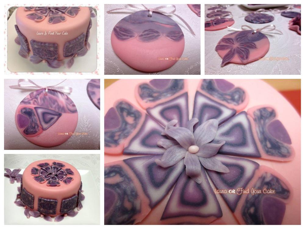 Lilac flowers cookies and mini cake