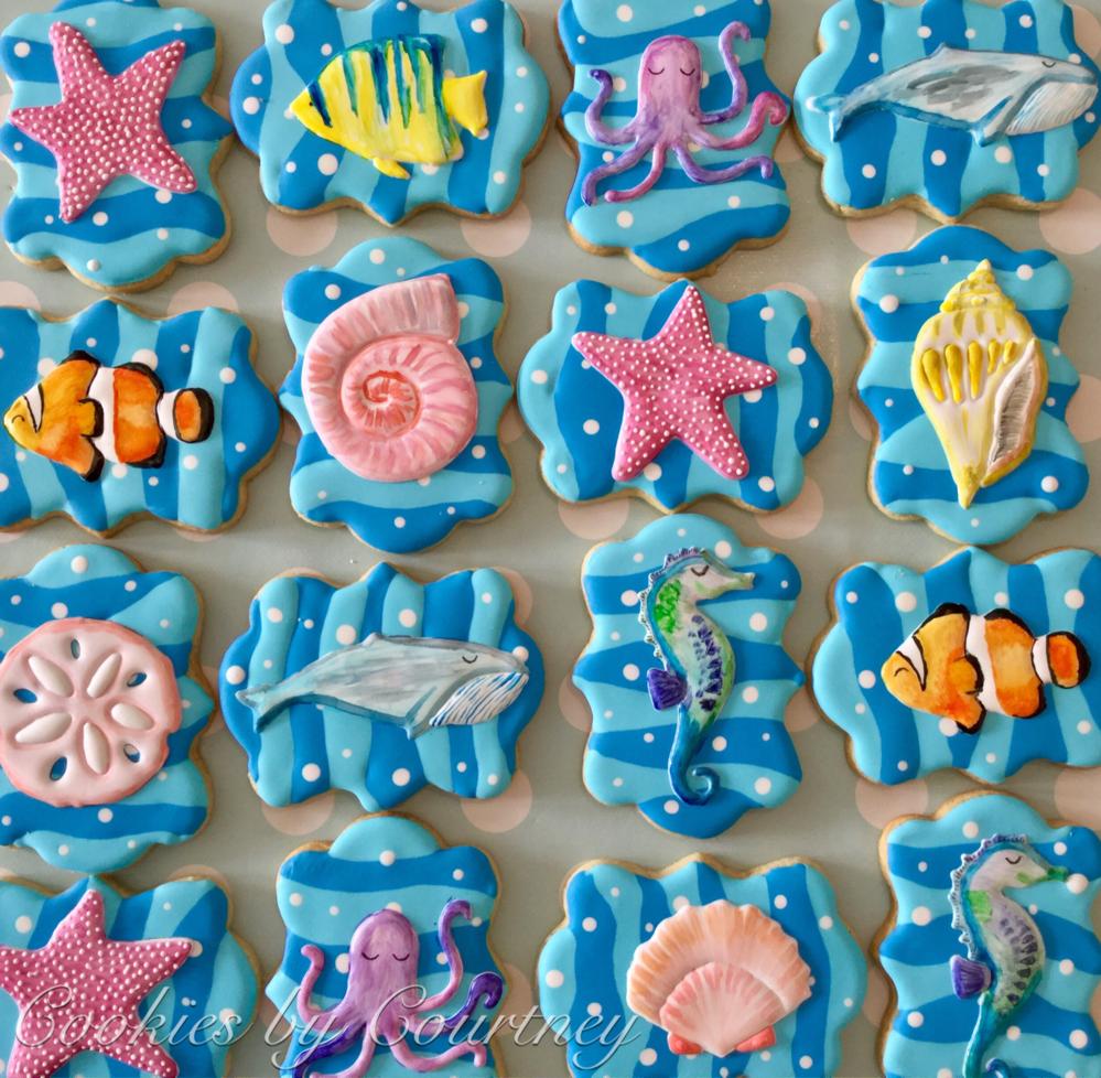 Ocean theme birthday cookies