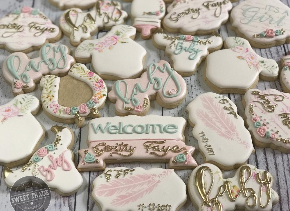 Rustic girlie baby shower cookies