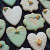 Mint and ecru wedding cookies