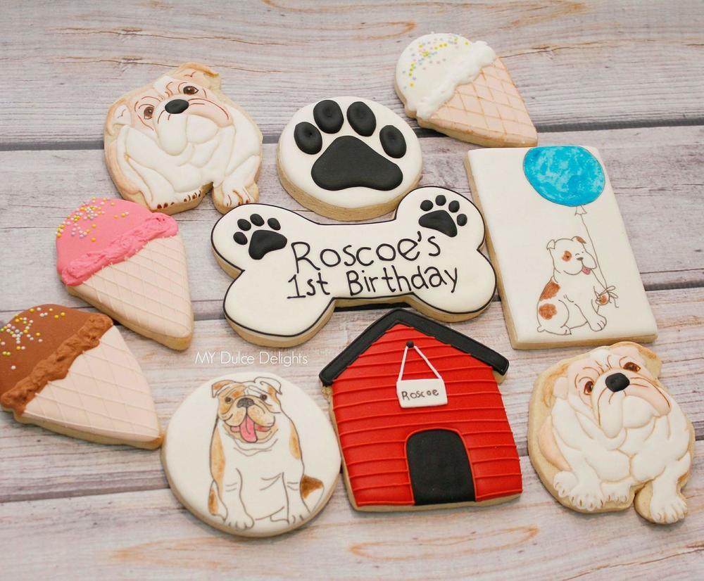 Bulldog first birthday cookies