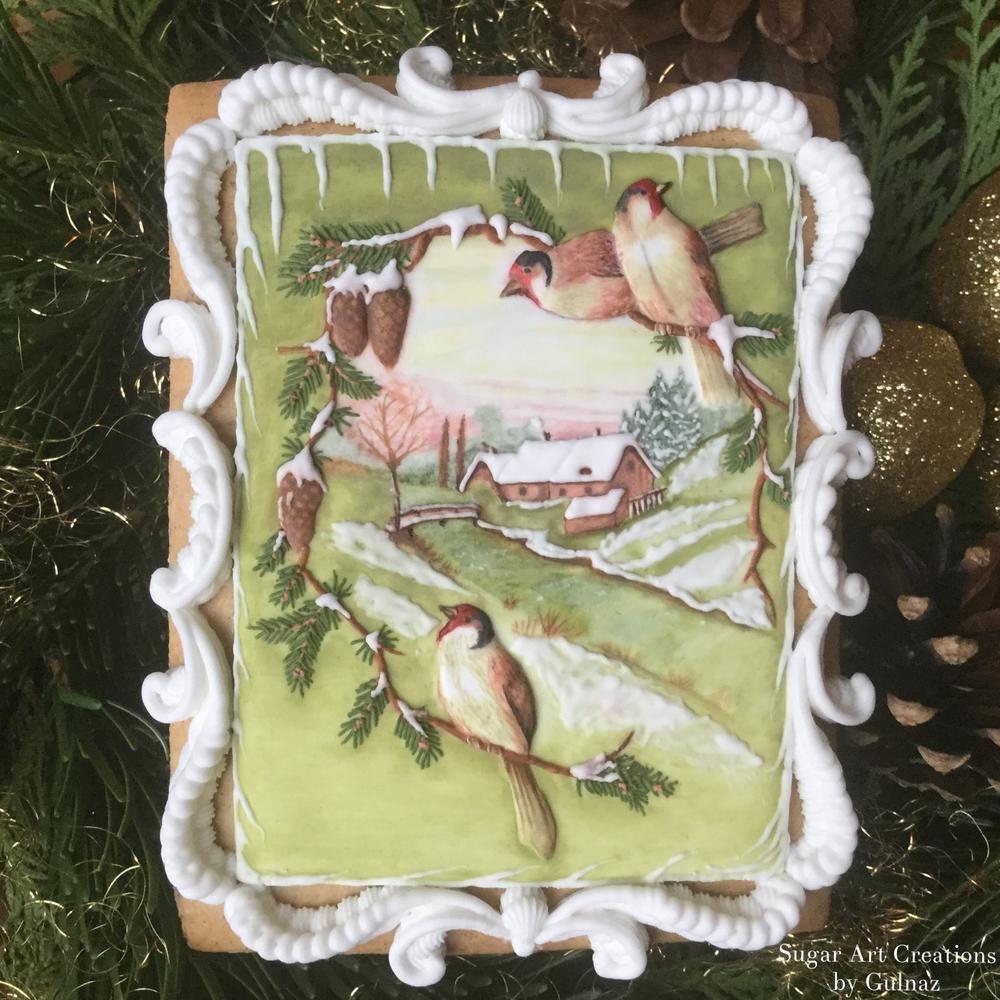 Vintage Christmas Card Gingerbread Cookie