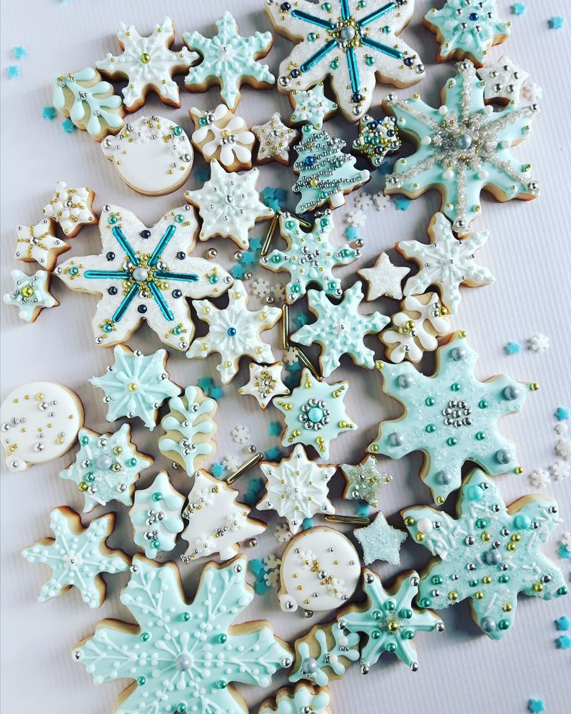 Ice Crystals and Snowflake Cookies