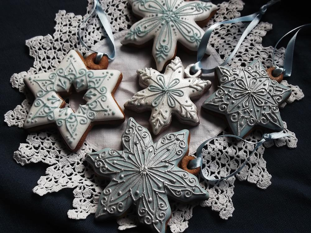 Silver, Blue, and White Snowflakes and Stars