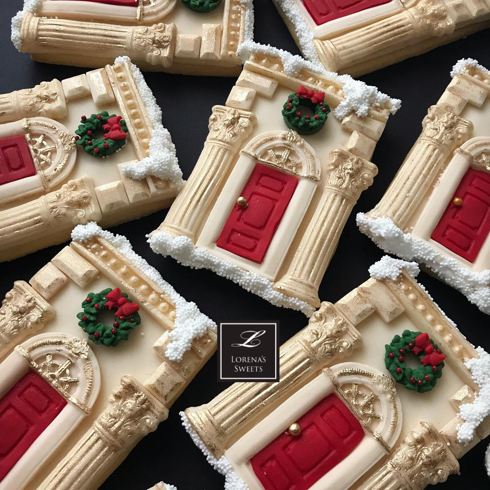 Lorena Rodriguez Traditional Facade Christmas House Cookie