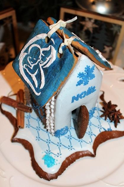 Christmas gingerbread house in blue