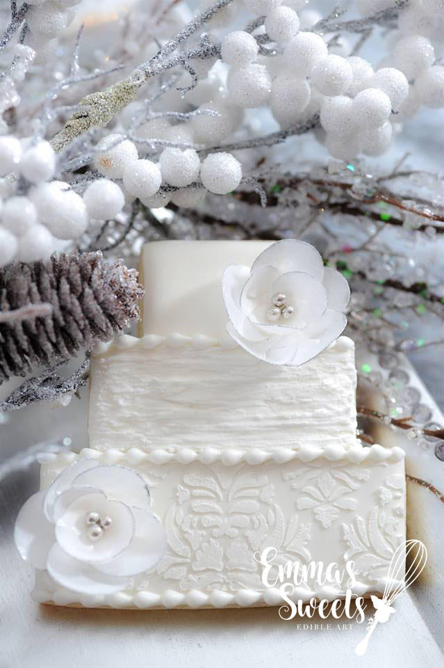 Winter Wonderland Wedding Cake with Wafer Paper Flowers by Emma's Sweets