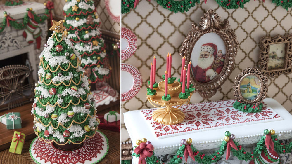 3-D Christmas Fireplace Cookie Accessories by Julia M Usher