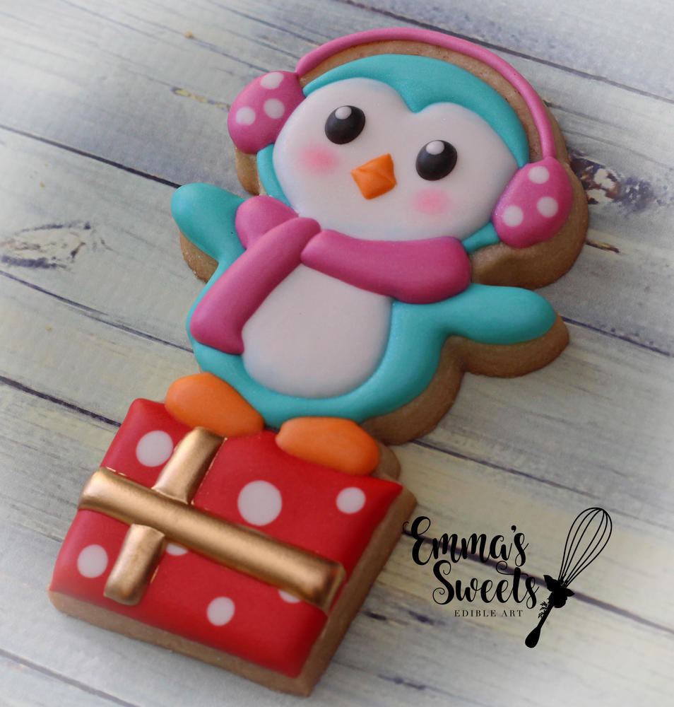 Penguin on a Present by Emma's Sweets