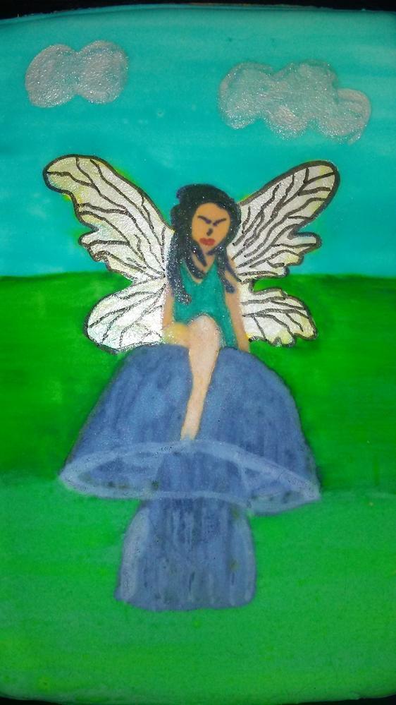 Handpainted Fairy on Mushroom