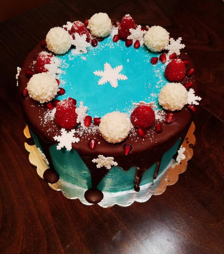 Blue Cake with Snowballs and Snowflakes