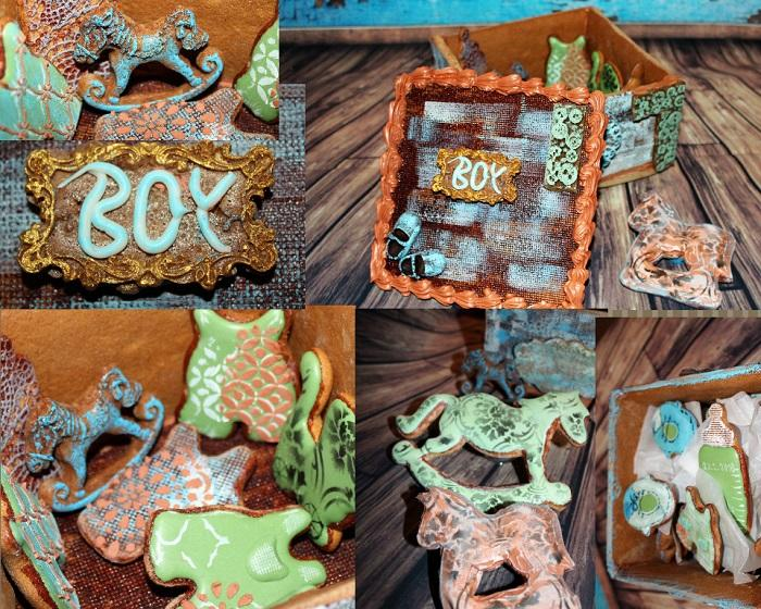 Vintage Gingerbread Box for Newborn Boy - More Views