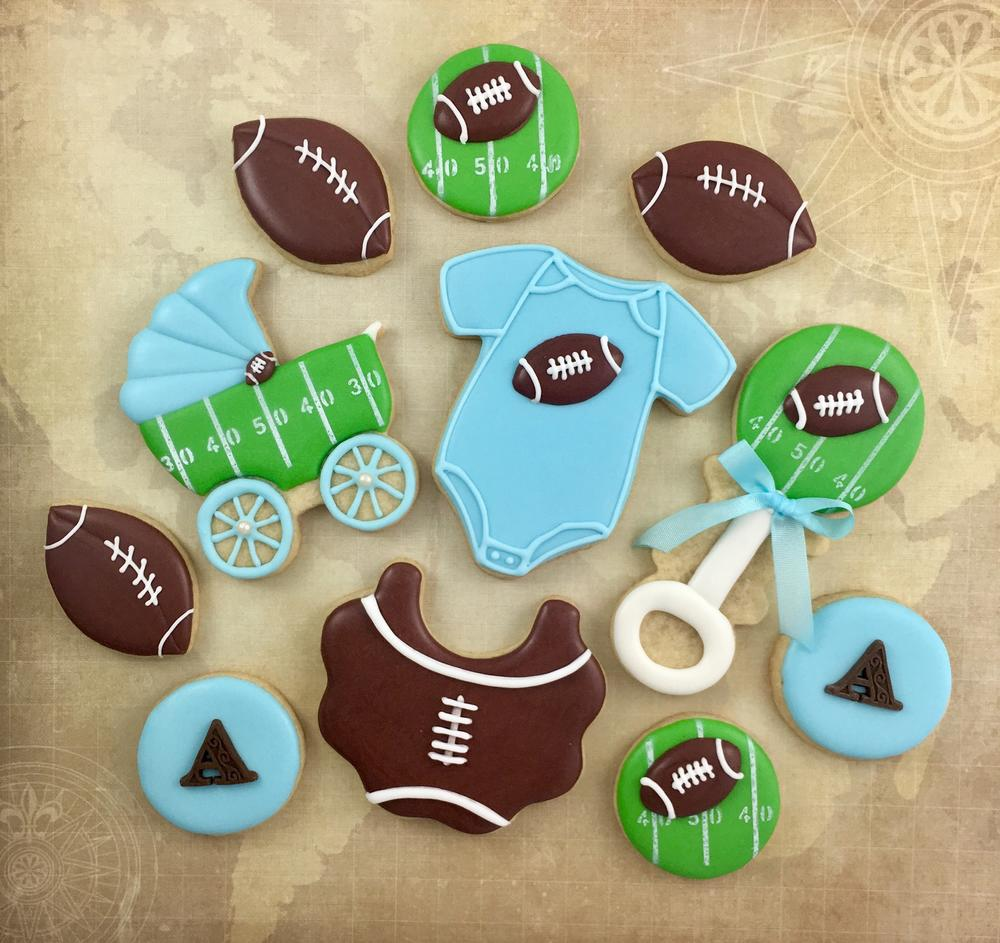 Football themed baby shower cookies