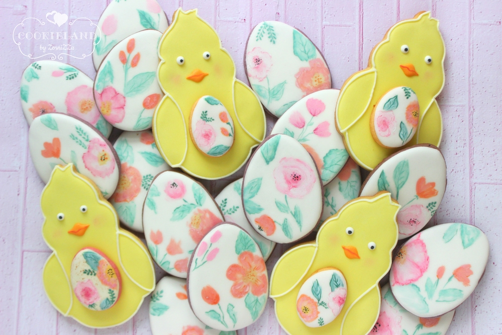 Watercolor eggs and ducklings