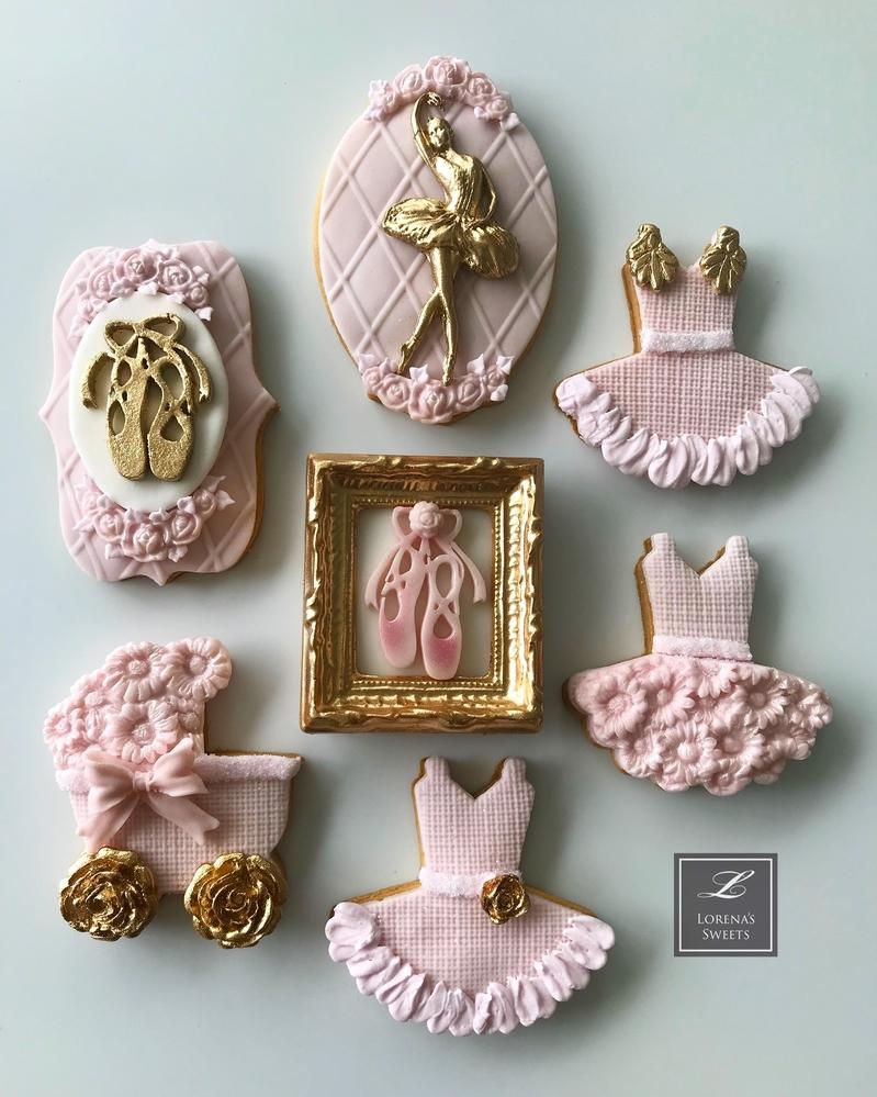 Lorena Rodríguez. Ballerina cookies. Baby shower cookies.