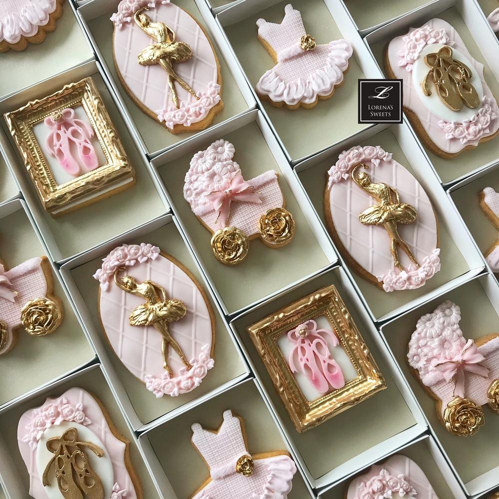 Lorena Rodriguez. Ballerina cookies . Baby shower cookies