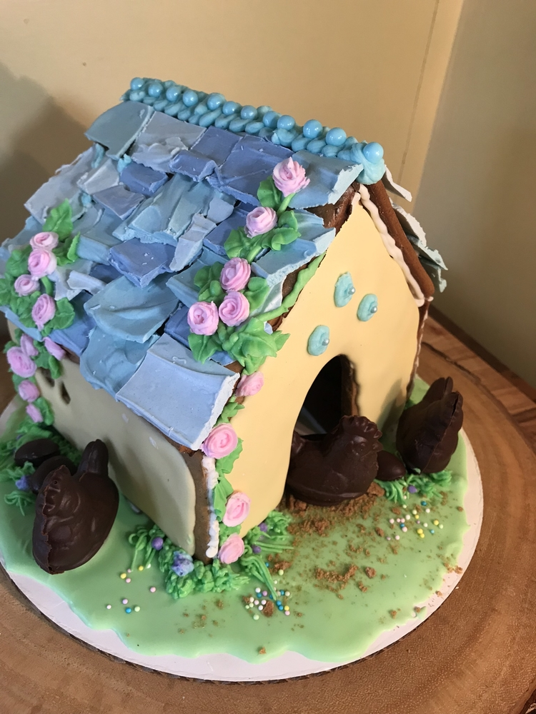 Easter gingerbread hen house