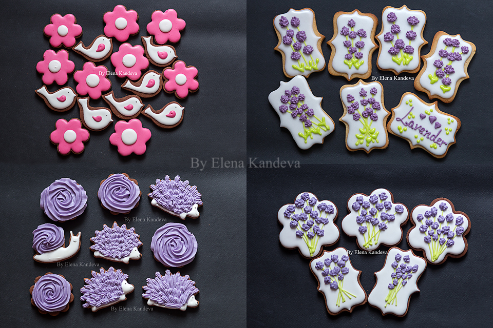 Flower and animal and lavender cookies