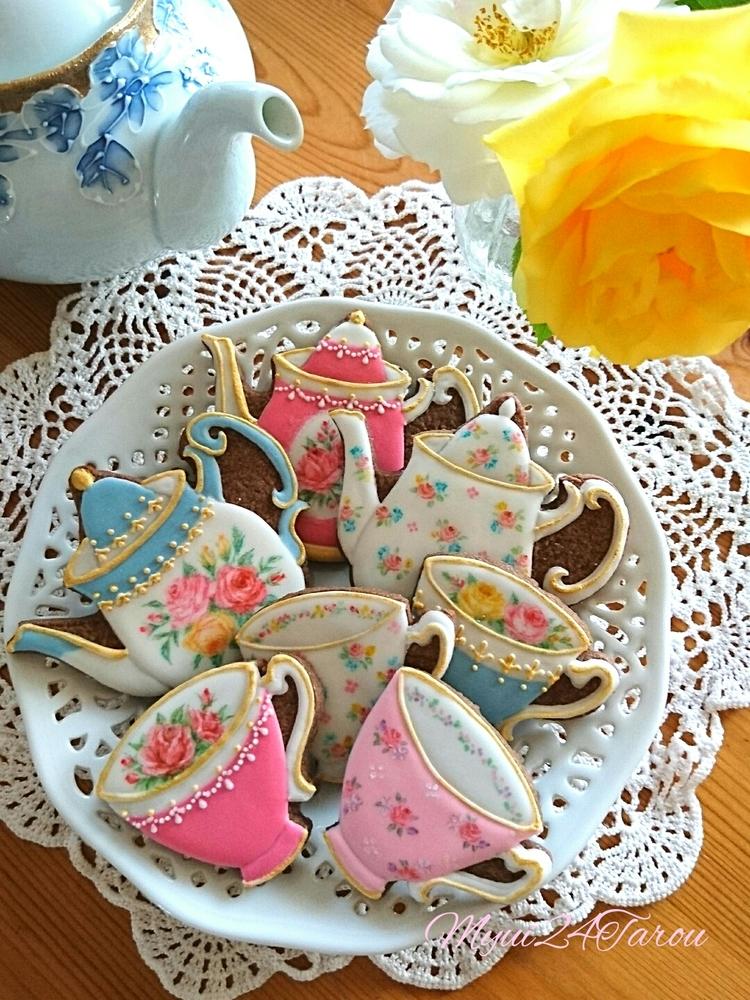 Rose Tea Set Cookies
