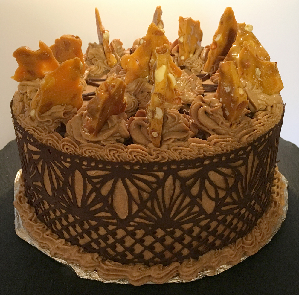 Doubling Down on Chocolate, Peanut Butter and Sugar! Chocolate Cake with Peanut Butter Italian Meringue Buttercream, Chocolate Lace Wrap and Salted Peanut Brittle