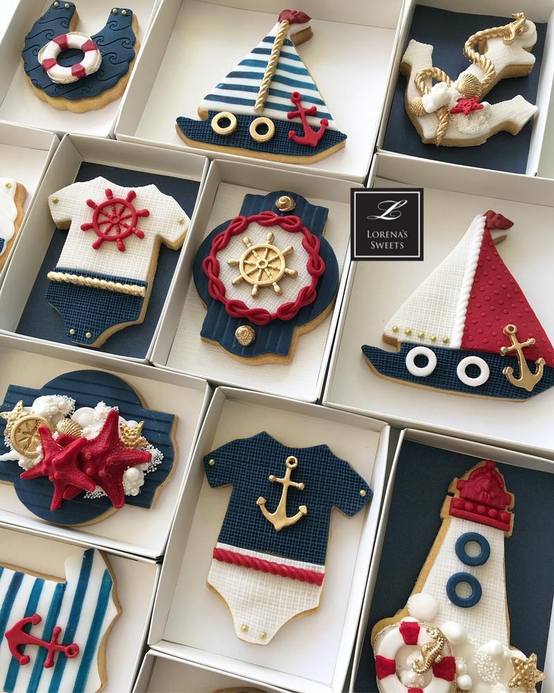 Lorena Rodríguez. Nautical cookies. Baby shower cookies