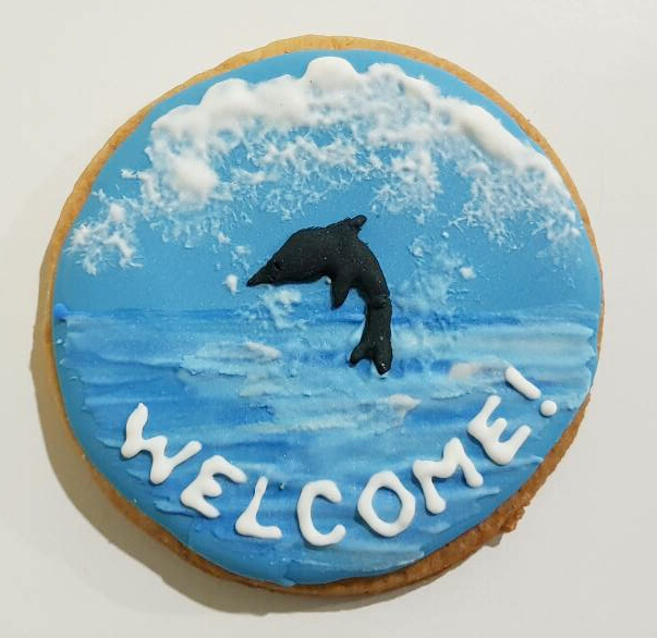 Dolphin and Sea - Handpainted Cookie by Kanch J
