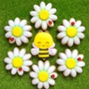 Happy little bee with daisies