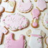 Babyshower cookies in pinks