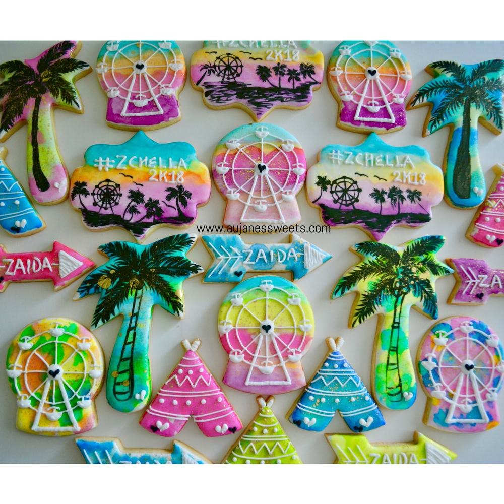Watercolor Coachella Cookies