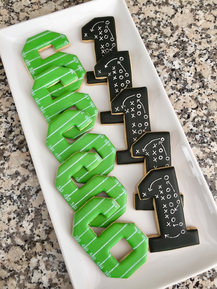 Football themed birthday cookies
