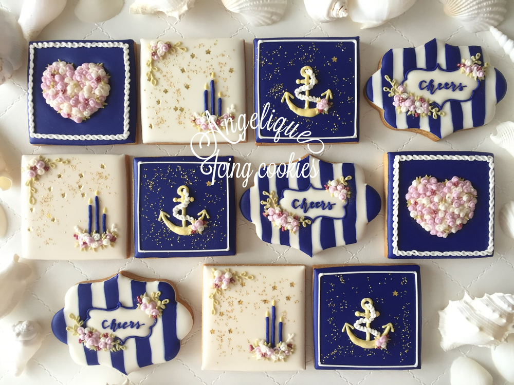 Navy color summer cookies