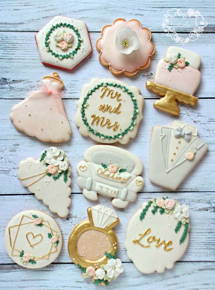Greenery wedding cookies