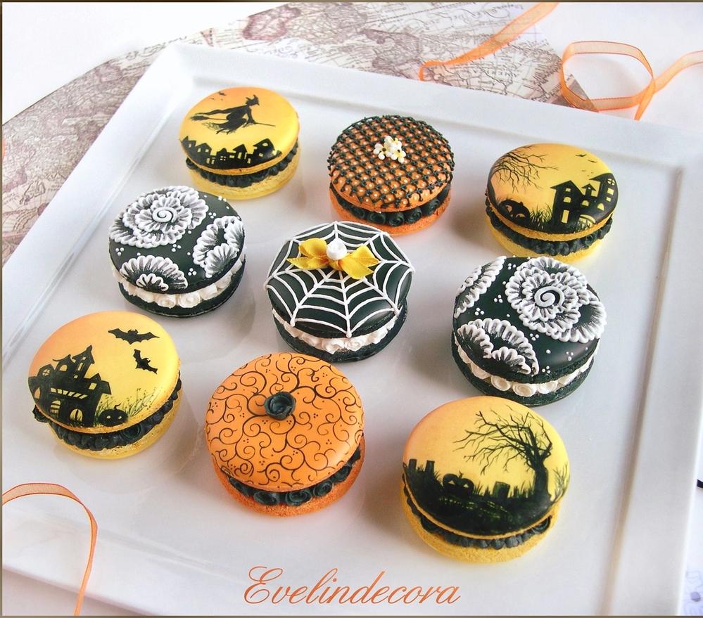 Halloween macaron-cookies