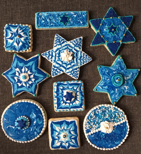 Hanukkah Wet-on-Wet Cookies