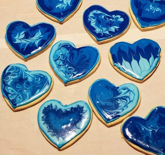 Wet-on-Wet Heart Cookies