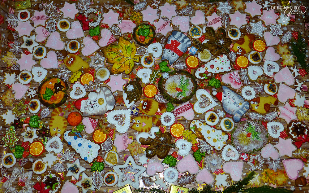 Colorful cookie mix for fall, christmas, winter or birthday