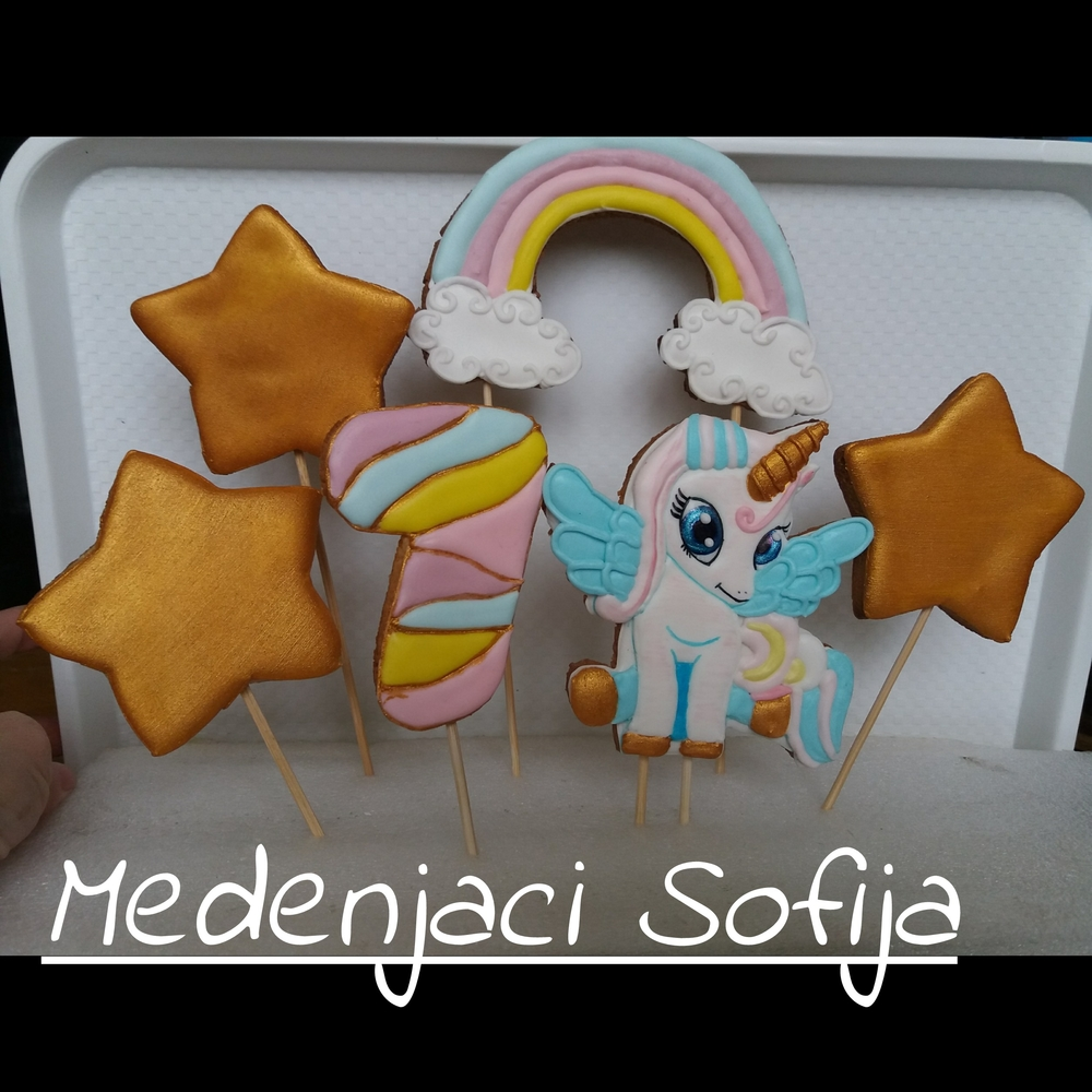 Cookie Cake Toppers - Star, Rainbow, and Unicorn