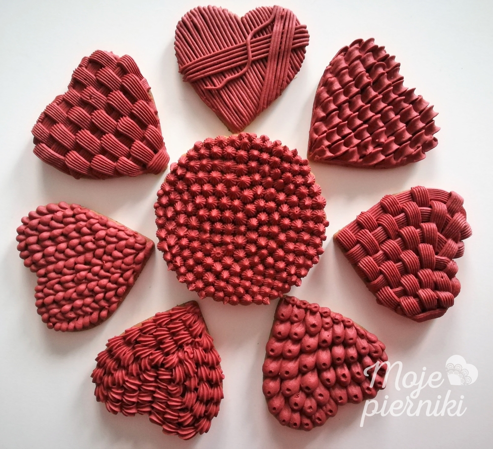 Textured Red Hearts