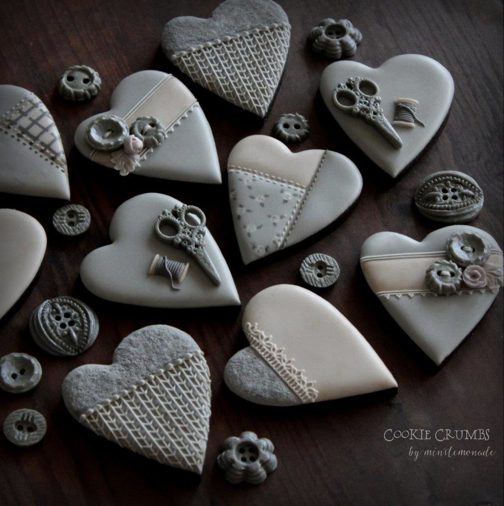 Sewn Heart Cookies