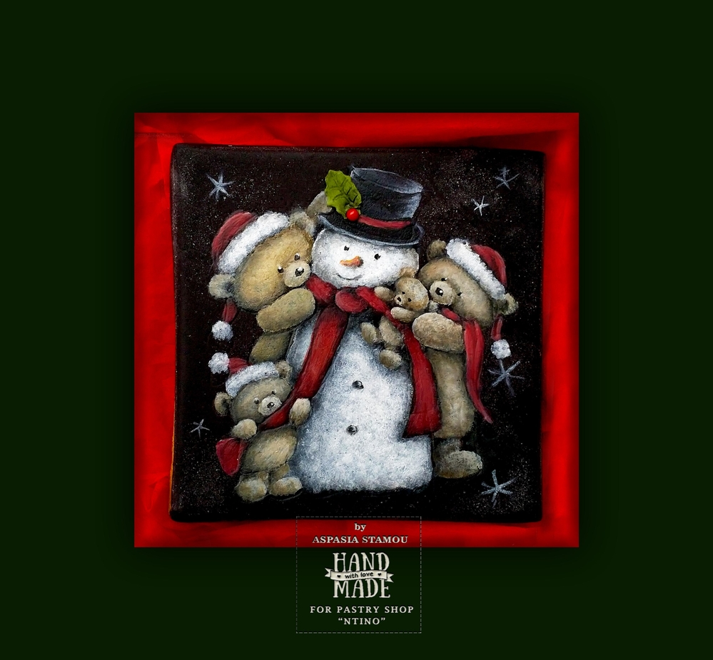 """Snowman with Teddies Bears"""
