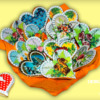 festive hearts with blossoms and pattern