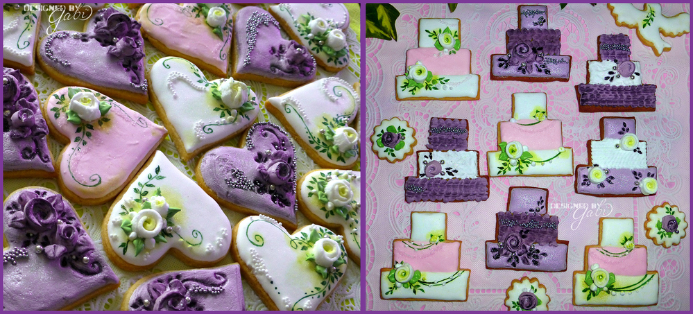 white rosè violet cookie set