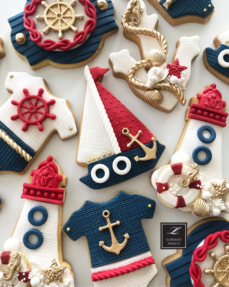 Lorena Rodríguez. Sailor baby shower cookies